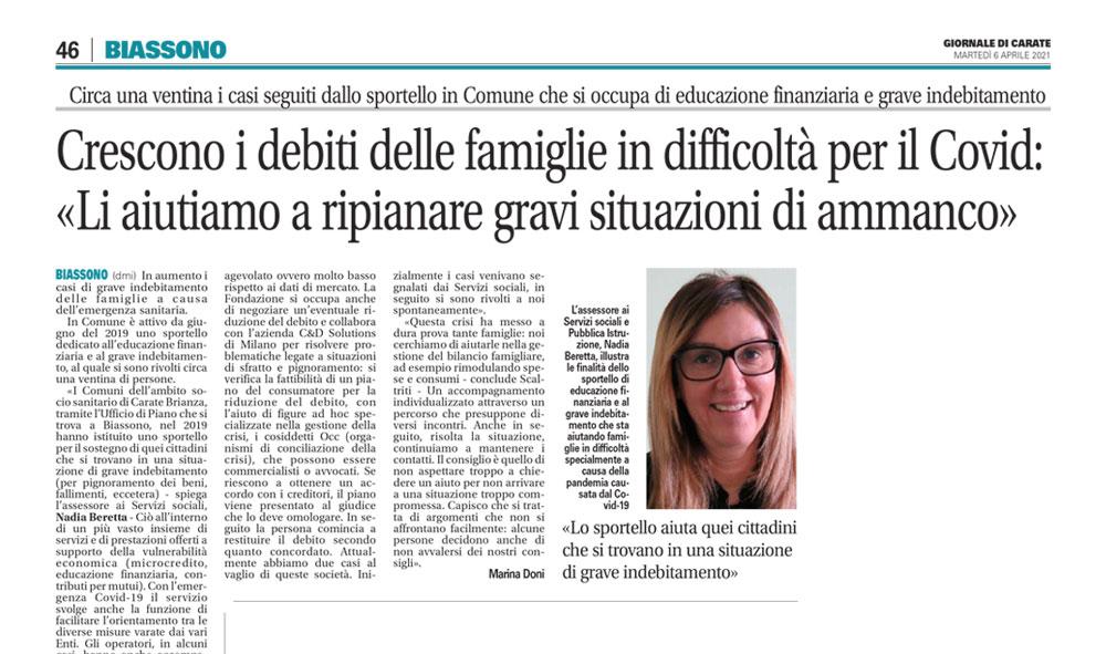 Crescono i debiti delle famiglie per il Covid 19 – la risposta dei Comuni dell'ambito socio sanitario di Carate Brianza